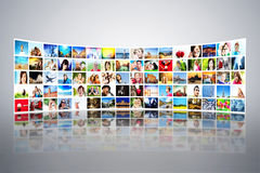Pictures display on wide monitors, screens Royalty Free Stock Images