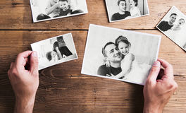 Pictures of father and daughter, wooden background. Fathers day. Stock Image