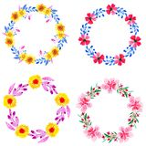 Four wreath watercolor floral stock illustration