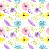 Seamless pattern watercolor floral pink, purple and yellow flowers royalty free illustration