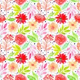 Watercolor floral beautiful flowers seamless pattern vector illustration