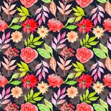 Watercolor floral seamless pattern dark background royalty free illustration