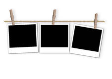 Pictures frame with clip on the rope Stock Photo