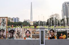 Pictures in front of Maha Bandula Park in Yangon Stock Image