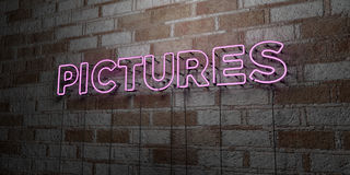 PICTURES - Glowing Neon Sign on stonework wall - 3D rendered royalty free stock illustration Stock Photo