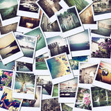 Pictures of holiday. Mosaic with pictures of different places and landscapes, snapshots uploaded to social networking services Royalty Free Stock Photo