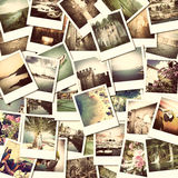 Pictures of holiday. Mosaic with pictures of different places and landscapes, snapshots uploaded to social networking services Royalty Free Stock Photography