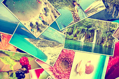 Pictures of holiday. Mosaic with pictures of holiday, snapshots uploaded to social networking services royalty free stock photography