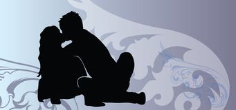 Pictures with kissing couple silhouettes on Valentine day. This is pictures with kissing couple silhouettes on Valentine day. See more our vector couples in love Royalty Free Stock Photography