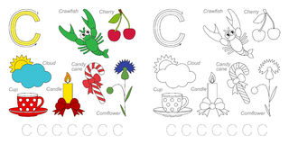 Pictures for letter C. Tracing Worksheet for children. Full english alphabet from A to Z, pictures for letter C Royalty Free Stock Photography