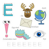 Pictures for letter E. Tracing Worksheet for children. Full english alphabet from A to Z, pictures for letter E, the colorful version royalty free illustration