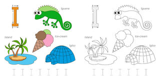 Pictures for letter I. Tracing Worksheet for children. Full english alphabet from A to Z, pictures for letter I Stock Photo