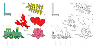Pictures for letter L. Tracing Worksheet for children. Full english alphabet from A to Z, pictures for letter L Royalty Free Stock Images