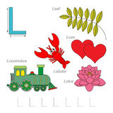 Pictures for letter L. Tracing Worksheet for children. Full english alphabet from A to Z, pictures for letter L, the colorful version Royalty Free Stock Images