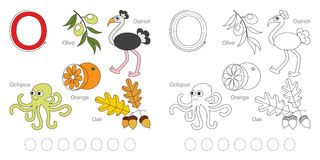 Pictures for letter O. Tracing Worksheet for children. Full english alphabet from A to Z, pictures for letter O Royalty Free Stock Photo
