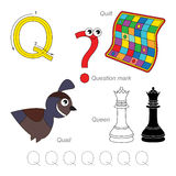 Pictures for letter Q Royalty Free Stock Photography
