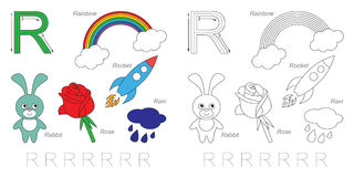 Pictures for letter R. Tracing Worksheet for children. Full english alphabet from A to Z, pictures for letter R Royalty Free Stock Photos