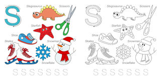Pictures for letter S. Tracing Worksheet for children. Full english alphabet from A to Z, pictures for letter S Royalty Free Stock Photo