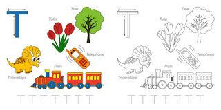 Pictures for letter T. Tracing Worksheet for children. Full english alphabet from A to Z, pictures for letter T Stock Photography