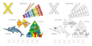 Pictures for letter X. Tracing Worksheet for children. Full english alphabet from A to Z, pictures for letter X Stock Images