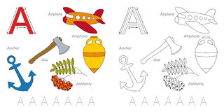 Pictures for letter A. Tracing Worksheet for children. Full english alphabet from A to Z, pictures for letter A Stock Photography