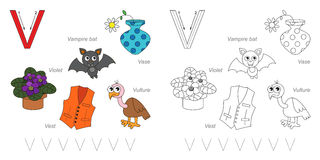 Pictures for letter V. Tracing Worksheet for children. Full english alphabet from A to Z, pictures for letter V Royalty Free Stock Image