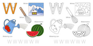 Pictures for letter W. Tracing Worksheet for children. Full english alphabet from A to Z, pictures for letter W Royalty Free Stock Photo