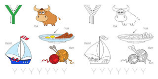 Pictures for letter Y. Tracing Worksheet for children. Full english alphabet from A to Z, pictures for letter Y Royalty Free Stock Photo