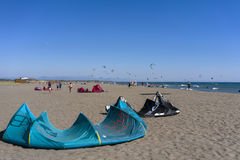 Pictures of Long Beach in Montenegro meeting of kitesurfers 03- Royalty Free Stock Image