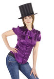 Pictures of lovely girl in top hat (cylinder) Royalty Free Stock Images