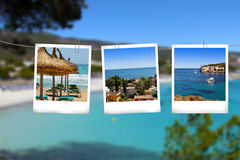 Pictures from Mallorca vacations hanging on the rope Stock Photography
