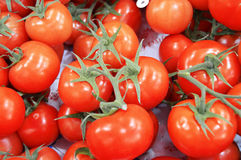 Pictures of many bunch tomatoes inside the case Stock Photo