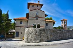 A pictures medieval church in Trebinje called Herzegovacka Gracanica. Pictures medieval Gracanica Church in Trebinje, Bosnia and Herzegovina with beautiful park Royalty Free Stock Photography