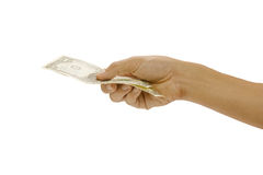 Pictures of the men hand took the money sent. Stock Images
