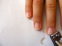 Pictures of nail cleaning and nail cutting.  Royalty Free Stock Photo