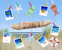 Pictures and Other Objects Hanging by the Beach Royalty Free Stock Photos