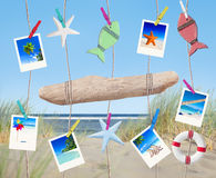 Pictures and Other Objects Hanging by the Beach Stock Image