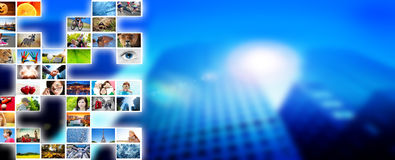 Pictures, photos display on modern skyscraper background. Media, technology Stock Photo
