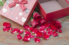 Pictures of roses and gifts for Valentine's Day. Stock Image