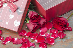 Pictures of roses and gifts for Valentine's Day. Stock Photos