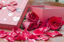 Pictures of roses and gifts for Valentine's Day. Royalty Free Stock Photos