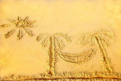 Pictures in the sand. Pictures on the yellow sand Royalty Free Stock Images