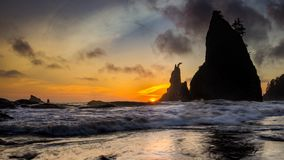 Sea Stacks and Sea During Sunset. This is the pictures of  sea stacks during sun set at Rialto Beach, Olympic National Park, Washington Stock Photo