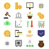 Pictures set of different symbols of finance and business.. Digital money, coins and crypto currency icon set. Bitcoin mining and exchange. Vector illustration Stock Image