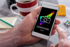 Pictures sharing concept on a smartphone Stock Photo