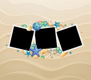 Pictures, shells and starfishes on sand background Royalty Free Stock Photo