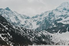 Tatry Mountains Zakopane Landscape. Pictures with snow took in tatry mountains. Beautiful landscape made in Morskie Oko stock image
