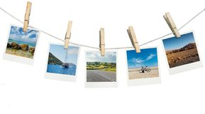 Pictures of summer destinations. Isolated vector illustration