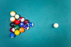 Billiards game pictures. Pictures taken on a billiard `s table Royalty Free Stock Photo