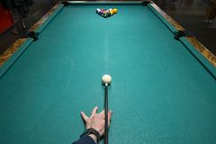 Billiards game pictures. Pictures taken on a billiard `s table Royalty Free Stock Image